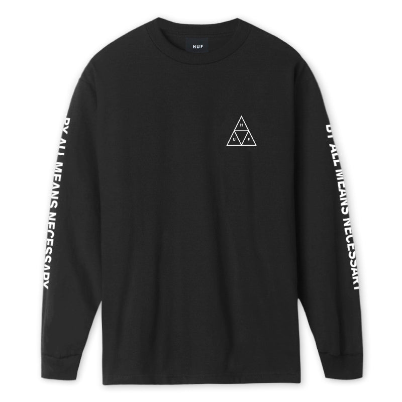 HUF - ESSENTIALS TT L/S TEE BLACK FRONT