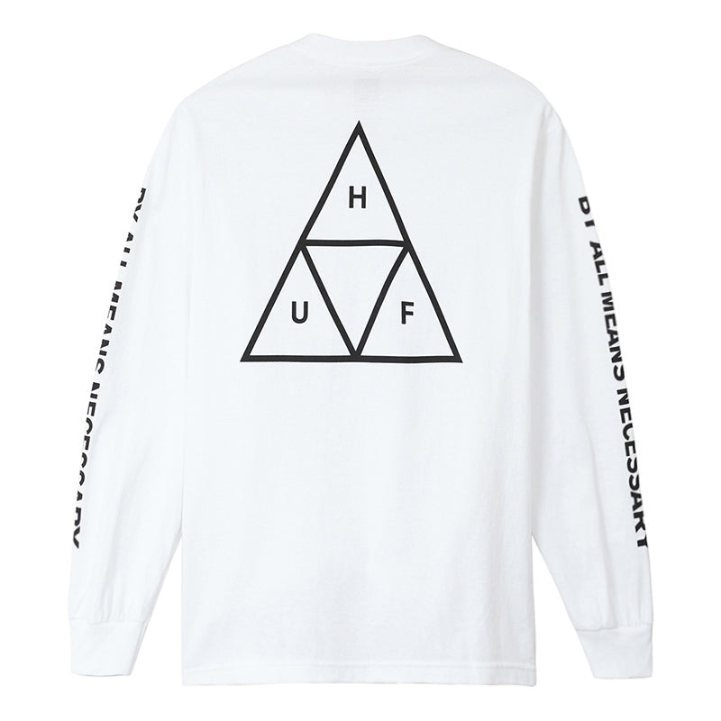 HUF - ESSENTIALS TT L/S TEE - WHITE BACK