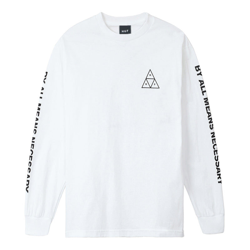 HUF - ESSENTIALS TT L/S TEE - WHITE FRONT