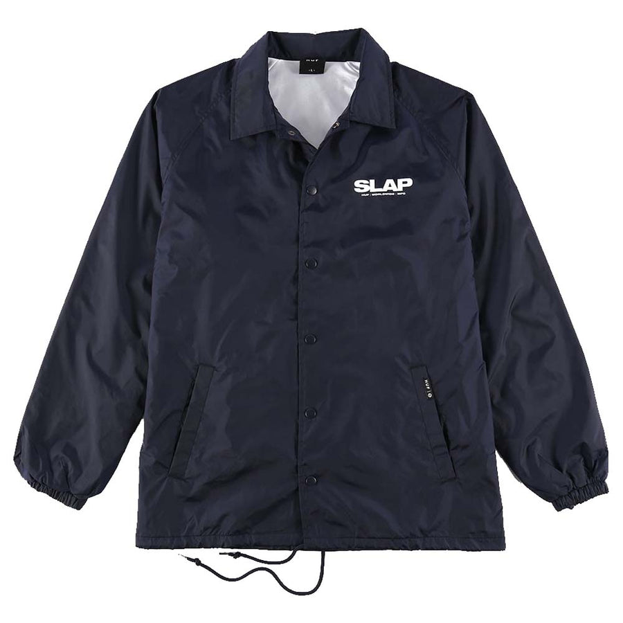 HUF X SLAP COACHES JACKET NAVY FRONT
