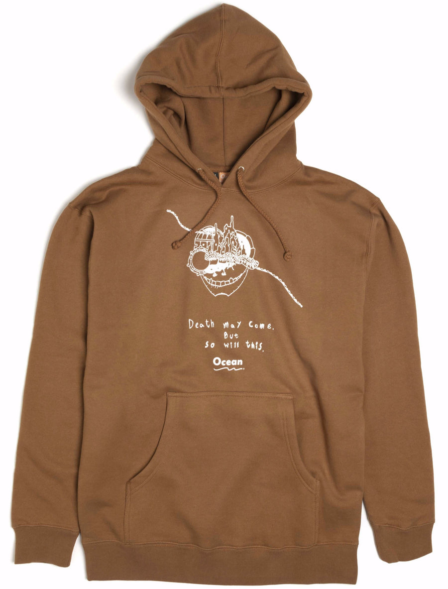 brun ocean hoodie med death may come logo