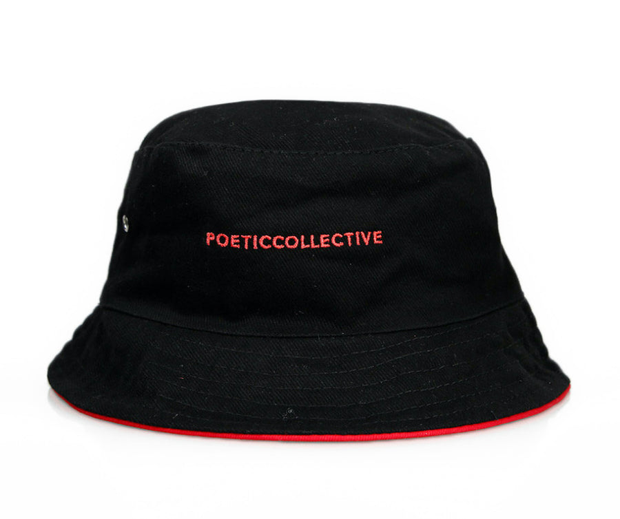 Poetic Collevtive - Bucket Hat Black Red