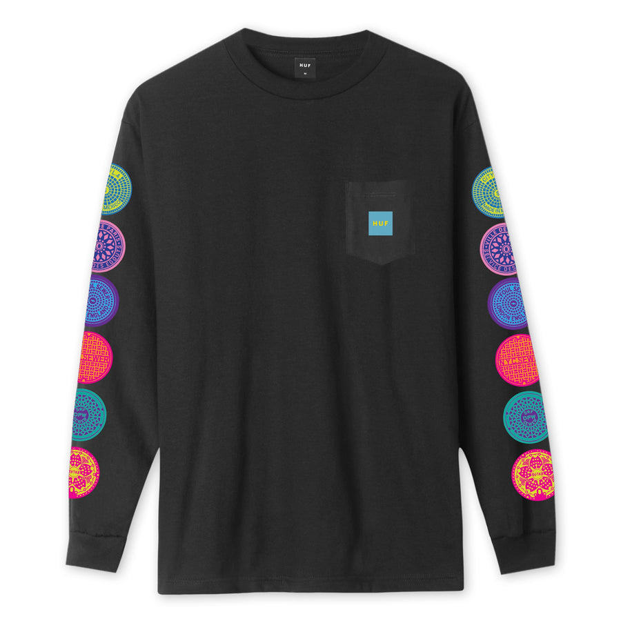 HUF - SEWER L/S POCKET TEE BLACK FRONT