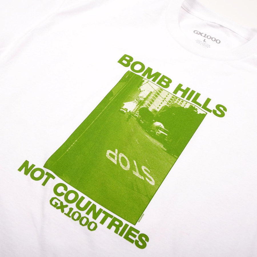 gx1000 bomb hills not countries t-shirt details shot