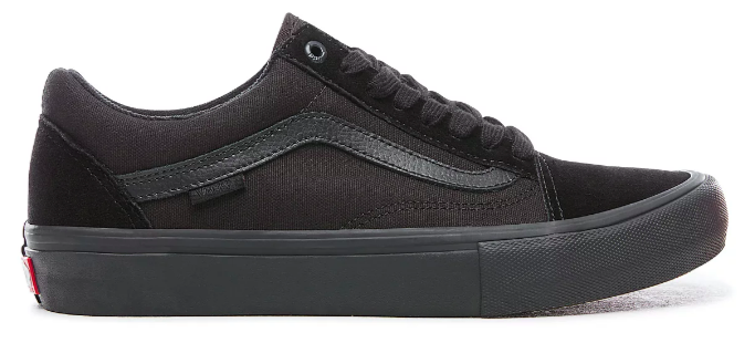 vans old skool pro blackout skate sko sort set fra siden