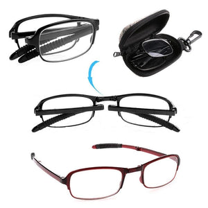 Unisex Folding Reading Glasses With Case & Carabiner +1.0 +1.5 +2.0 +2.5 +3.0 +3.5 +4.0