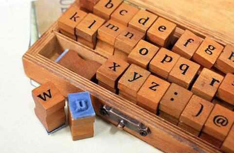 Picture of Wooden Alphabet Mini Stamp Set