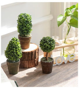 Set of 3 Mini Desktop Artificial Potted Plant