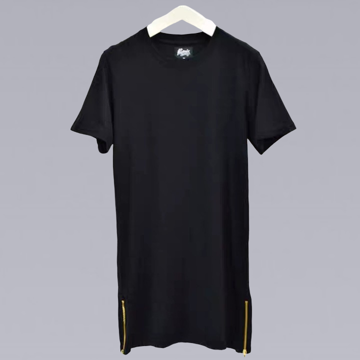 BLACK SIDE ZIP T-SHIRT
