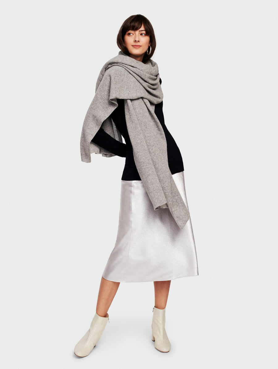 White + Warren Travel Wrap - Misty Grey Heather