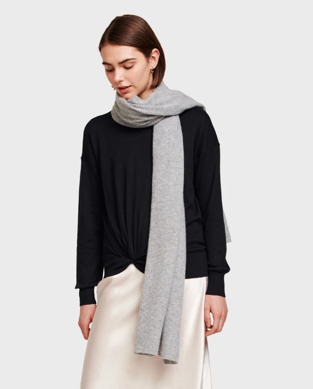 White + Warren Mini Cashmere Travel Wrap - Cloud Grey Heather