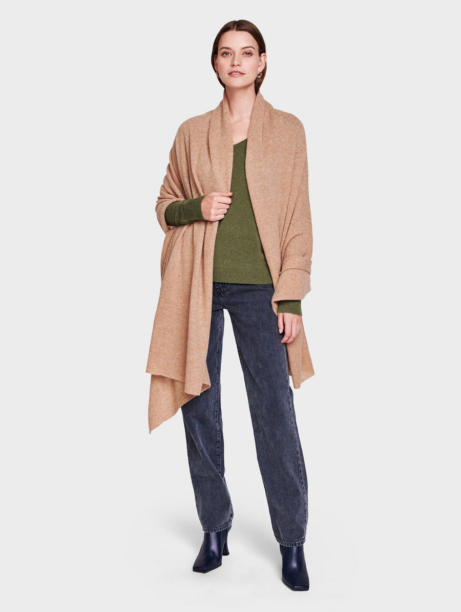 White + Warren Travel Wrap - Camel Heather