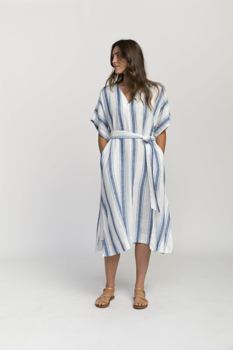 Trovata Hannah Dress Blue Wide Stripe
