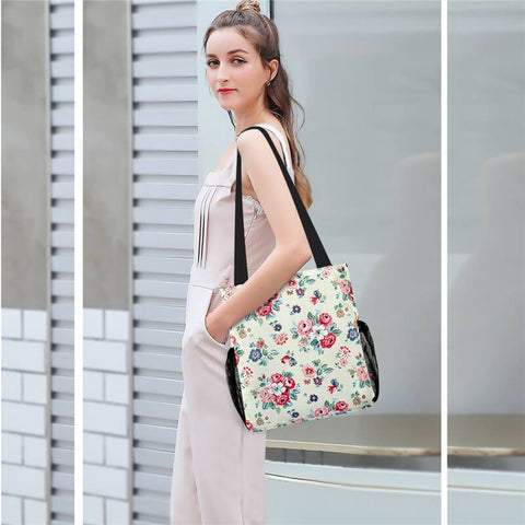 KAMO Flower Print Shoulder Bag | Fashion Handbag With Mesh Side Pocket