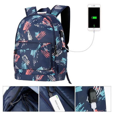 Kamo Polyester Backpack | USB interface Women Travel Bags | Fashion Girl School Bag