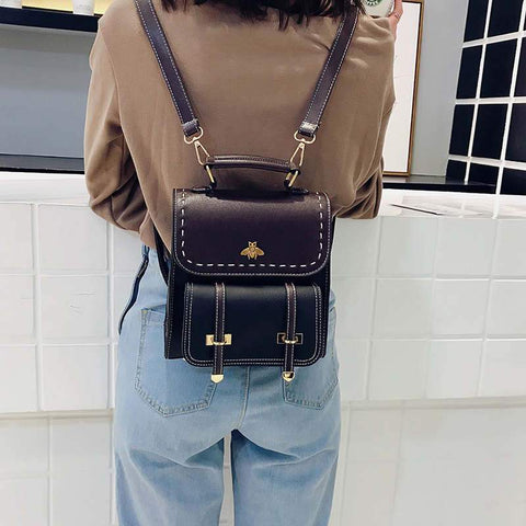 Leather Women Backpack | Simple Preppy Style Women Hand Bag |KAMO