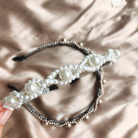 Beaded Headband - White /Grey