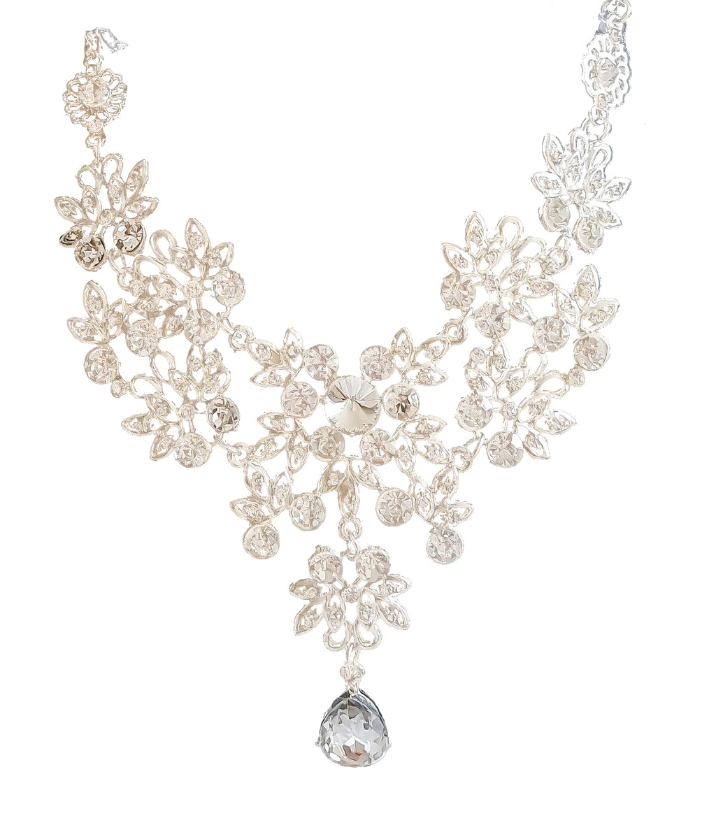 Flower Drape Necklace and Earrings Set - Vlure