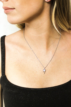 Leila fashion jewellery pendant necklace in gold or silver colour with cubic zirconia crystal
