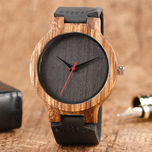 Black/Coffee/Green Dial Natural Bamboo Wood Watch Men Women Genuine Leather Wooden Watch