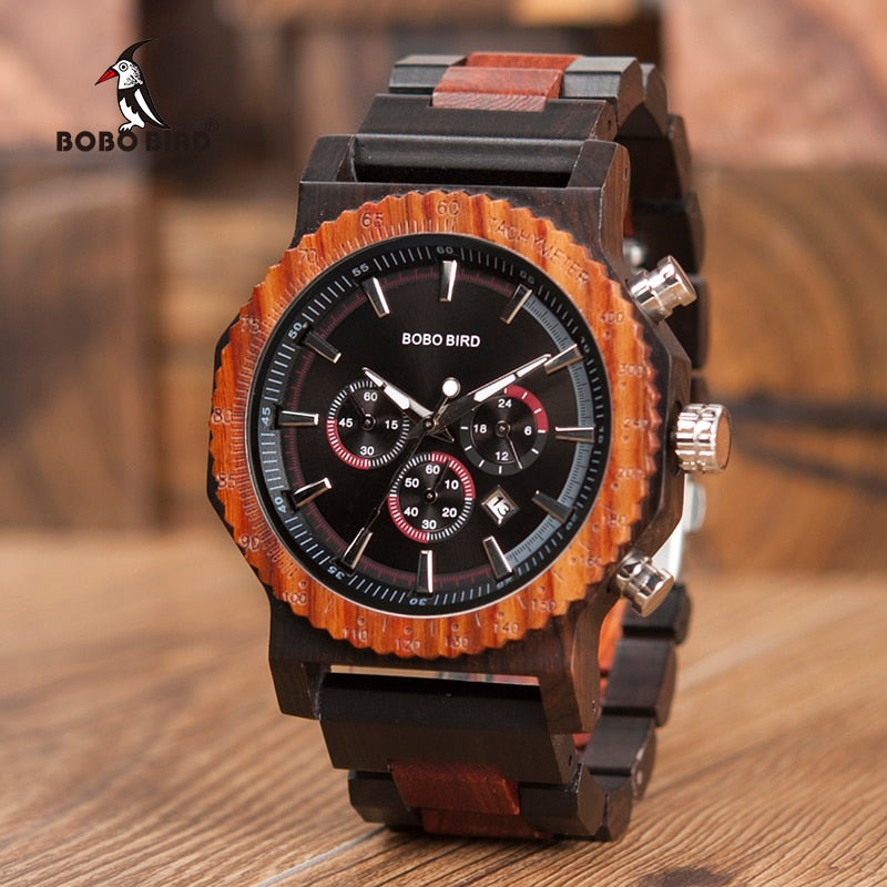 51mm Big Size Men Watch BOBO BIRD relogio masculino Wooden Quartz Top Luxury Watches