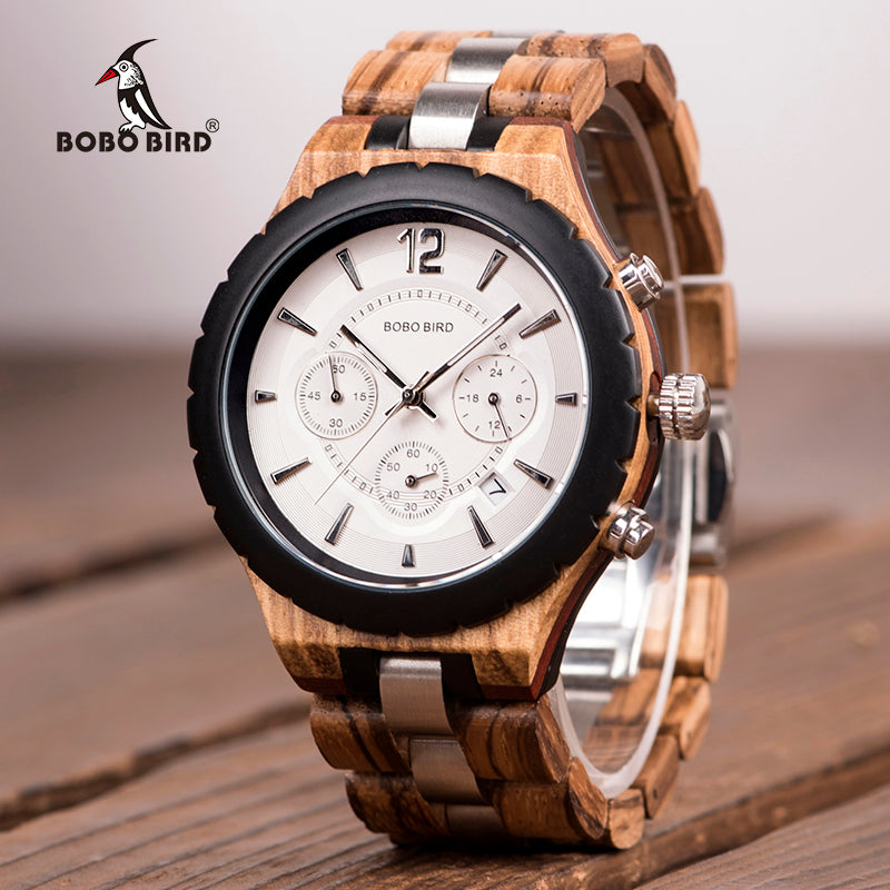 BOBO BIRD Mens  Watch               Luxury Elegant Wood Metal Chronograph Auto Date Watches reloj hombre 2018