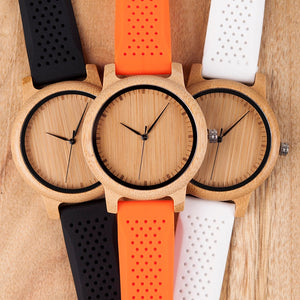 BOBO BIRD Women Watch Bamboo Wood Timepieces Silicone Straps relojes mujer marca de lujo Great Wrist Watch for Girls Accept Logo