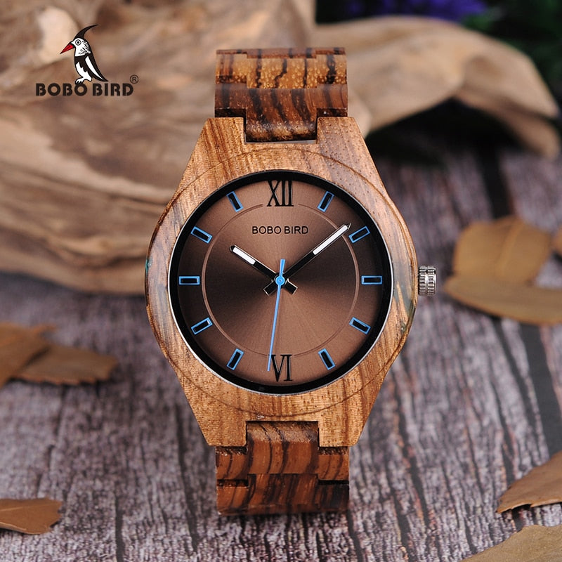 BOBO BIRD Wood Watch  Agate Inlay Case relogio masculino V Q05