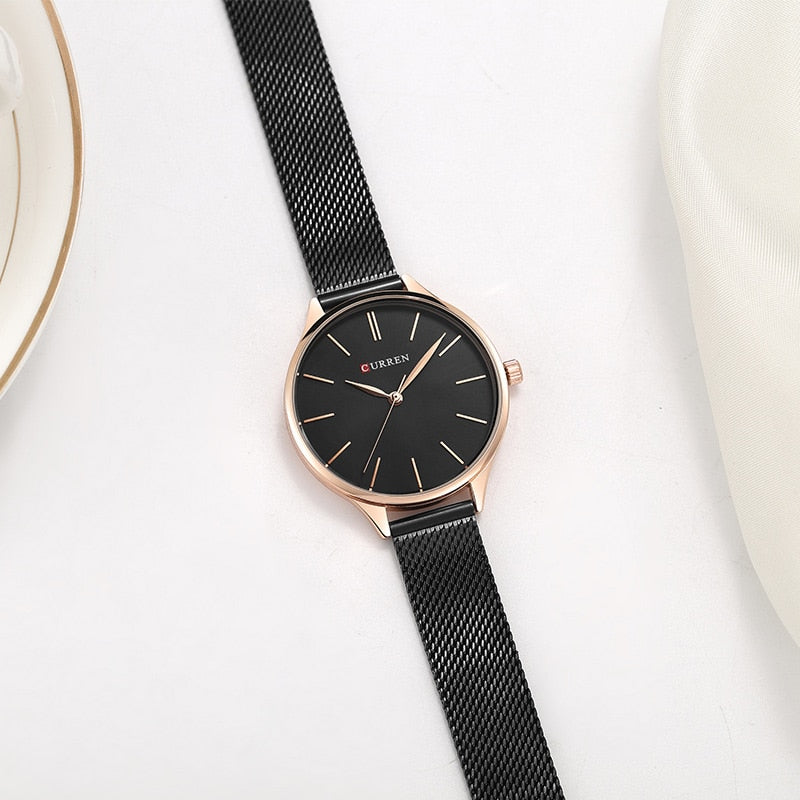 CURREN Women's Watches           Luxury Wrist watch Steel Lady Rose Gold Quartz Ladies Watch