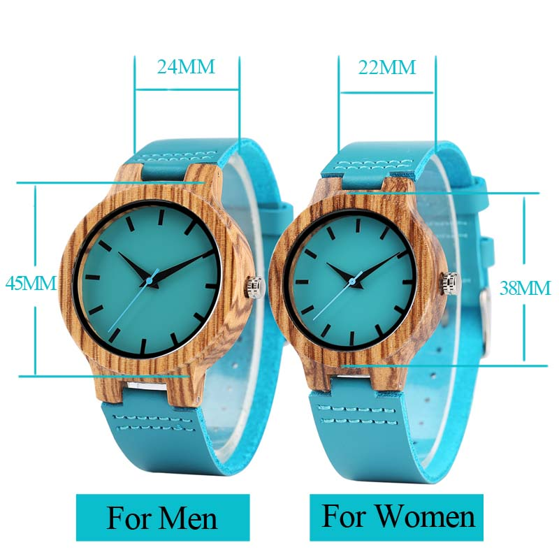 Luxury Royal Blue Wood Watch Top Quartz Wristwatch 100% Natural Bamboo