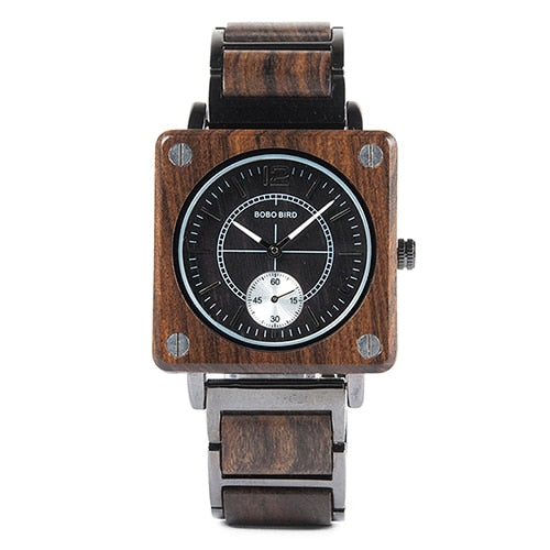 marque de luxe BOBO BIRD Wooden Men Square Watches Luxury Quartz Wood Watch Gifts for Men