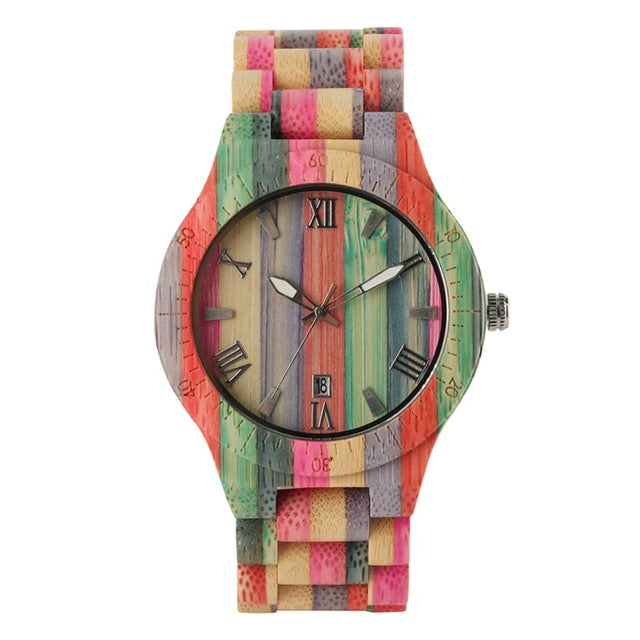 Men Women Fashion Colorful Wood Bamboo Watch Quartz Analog Handmade Full Wooden Bracelet Luxury Wristwatches  Gifts for Lovers