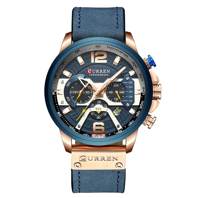 CURREN Brand Men's Casual Wristwatches         Mens Sport Waterproof Quartz Watch      Military Leather Chronograph