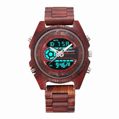 Shifenmei 2139 Antique Mens Zebra and Ebony Wood Watches with Double Display Business Watch in Wooden digital quartz watch