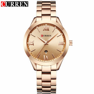 Women's Luxury Gold Steel Quartz Watch Curren