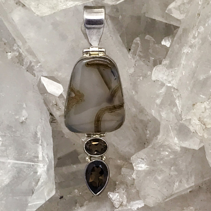 Agate Pendant with Smokey Quartz $65