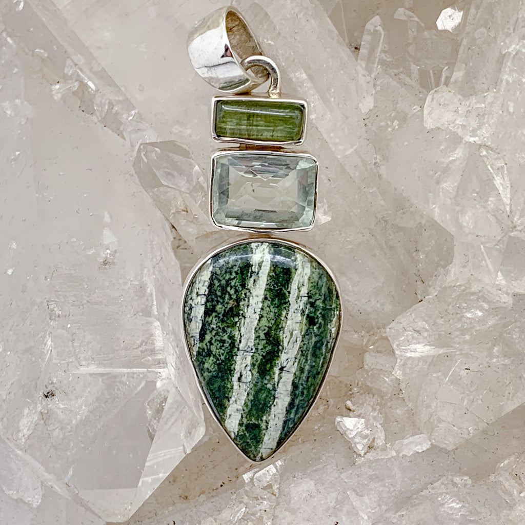 Seraphinite Pendant with Green Amethyst and Green Tourmaline $130