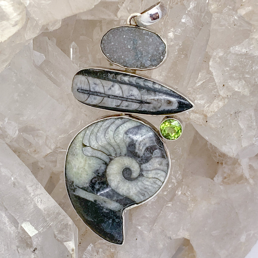 Ammonite Fossil Pendant with Trillobite Clear Quartz and Peridot $200