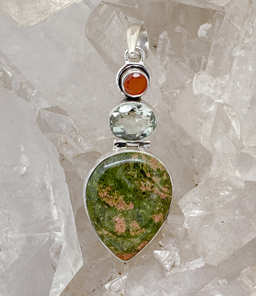 Unakite Pendant with Green Amethyst and Carnelian $95