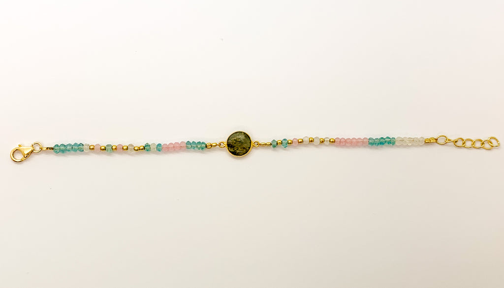 Gold Plated Sterling Silver Labradorite Bracelet with Moonstone Blue Topaz and Rose Quartz $80