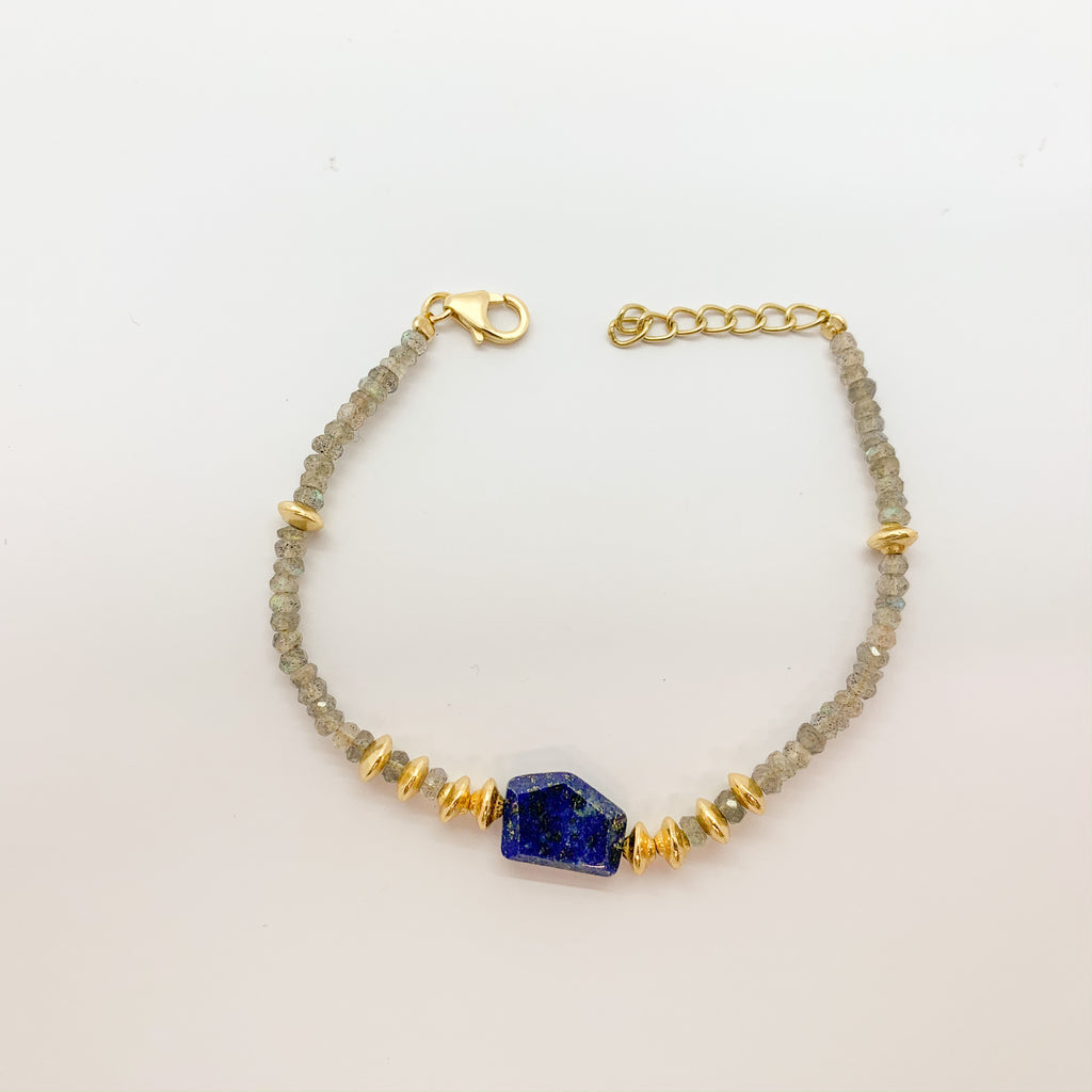 Gold Plated Sterling Silver Lapis Lazuli Bracelet With Labradorite $120