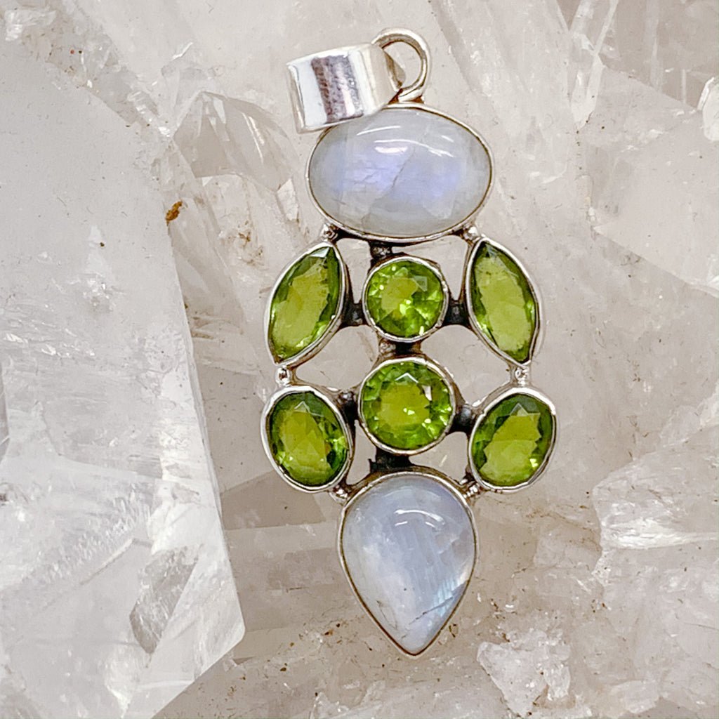 Moonstone Pendant With Peridot $135