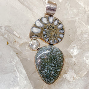 Pyrite Pendant with Ammonite and Clear Quartz $89