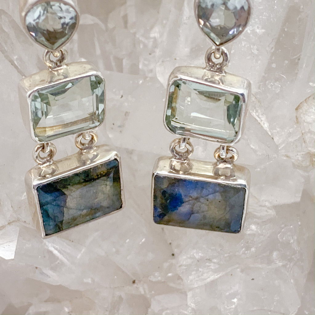 Labradorite Earrings With Green Amethyst $159