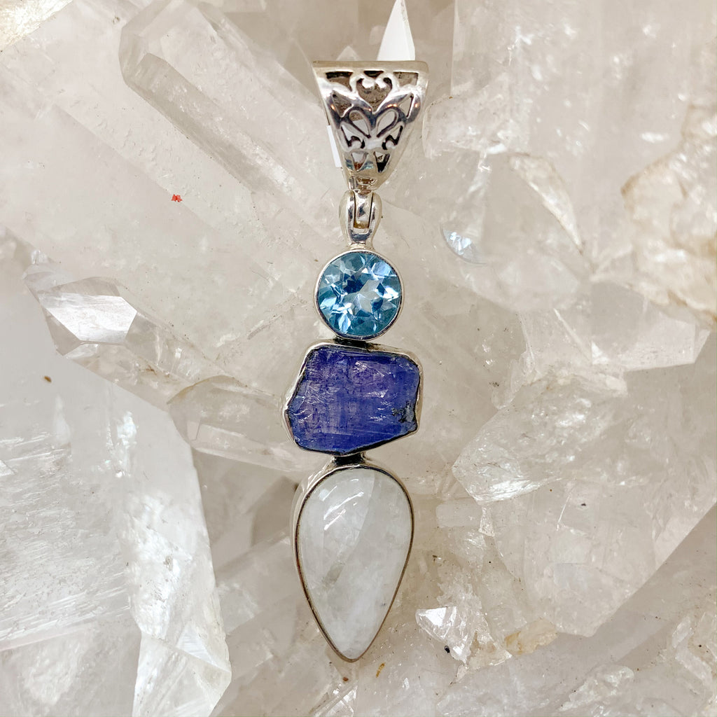 Moonstone Pendant With Tanzanite ,Blue Topaz $145