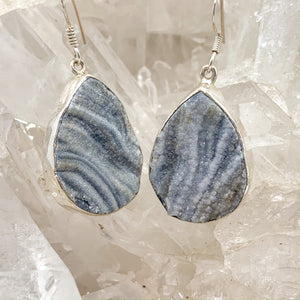 Raw Blue Lace Agate Earrings $100