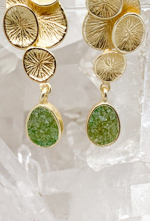 Gold Plated Sterling Silver Raw Peridot Earrings $75