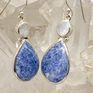 Sodalite Earrings With Moonstone $90