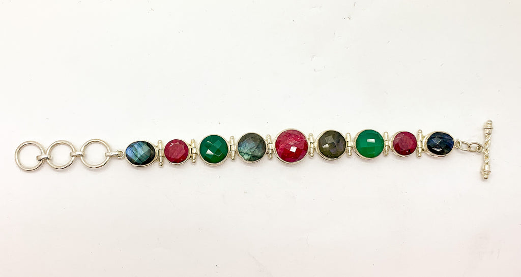 Ruby, Emerald And Labradorite Bracelet $280