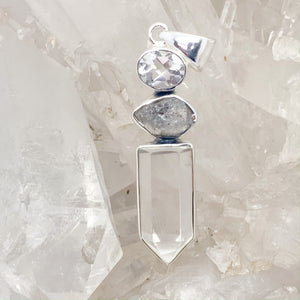 Clear Quartz Pendant With Herkimer Diamond $180